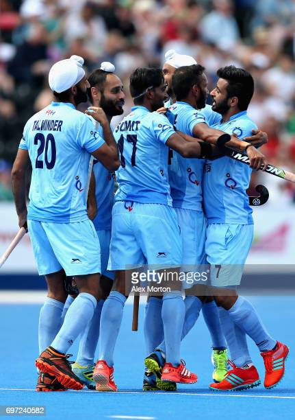 The India team celebrate after Talwinder Singh of India scored the second goal for India during the Hero Hockey World League Semi Final match between...