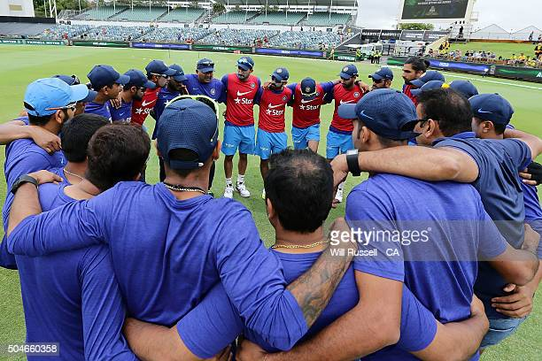 The India team form a huddle prior to the Victoria Bitter One Day International Series match between Australia and India at WACA on January 12 2016...