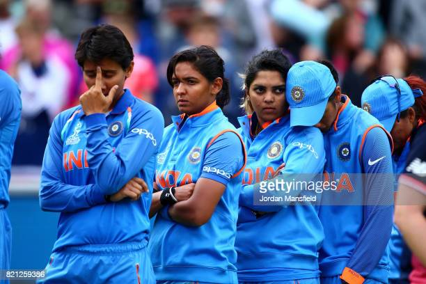 The India team look dejected after defeat in the ICC Women's World Cup 2017 Final between England and India at Lord's Cricket Ground on July 23 2017...