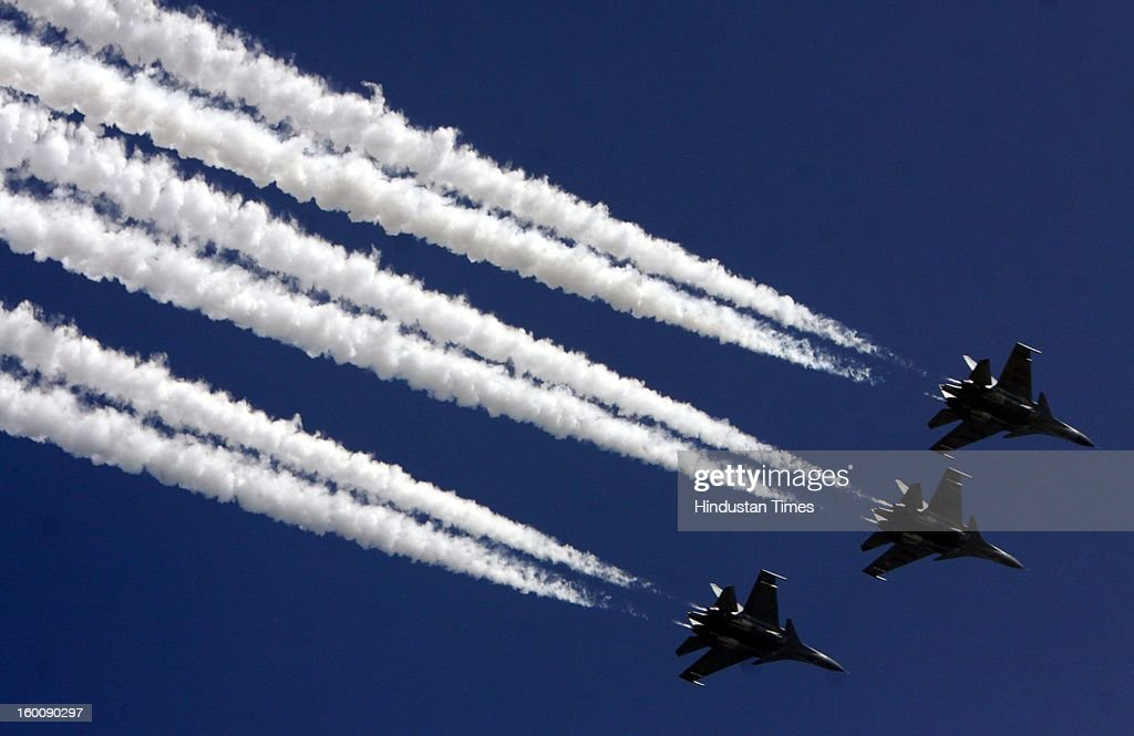 The Indian Air Force's Russian-made Sukhoi-30 aircrafts fly past during the 64th Republic Day parade celebration at Raj path on January 26, 2013 in New Delhi, India. India marked its Republic Day with celebrations held under heavy security, especially in New Delhi where large areas were sealed off for an annual parade of military hardware.
