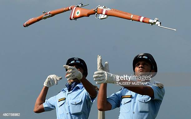 The Indian Air Warriors Drill Team take part in a drill during an Indian Air Force event in Srinagar on July 15 2015 The drill was organised to...