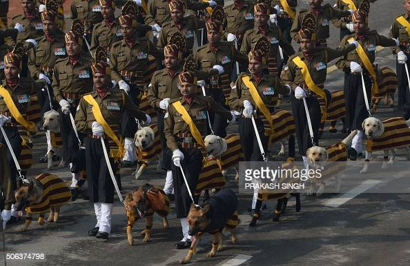 The Indian Army dog squad march during the full dress rehearsal for the upcoming Indian Republic Day parade on Rajpath in New Delhi on January 23...