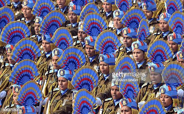 TOPSHOT The Indian Army women's contingent take part in the full dress rehearsal for the upcoming Indian Republic Day parade on Rajpath in New Delhi...