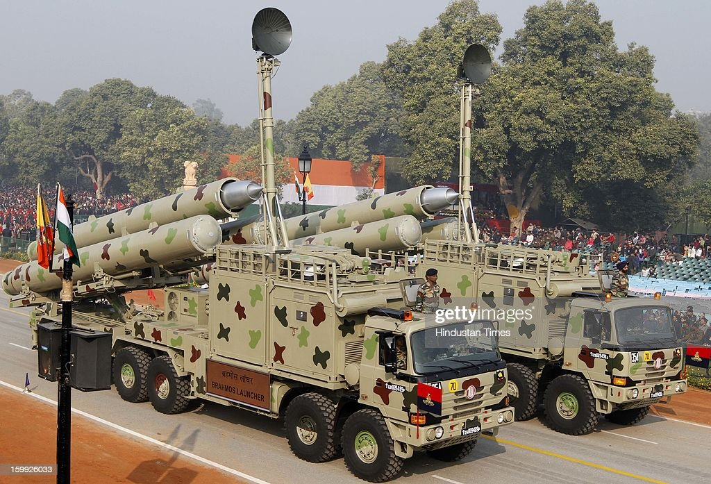 The Indian Army's Brahmos missile launchers take part in the full dress rehearsal for the Republic Day parade 2013 at Rajpath on January 23, 2013 in New Delhi, India. India is celebrating its 64th Republic Day this year.