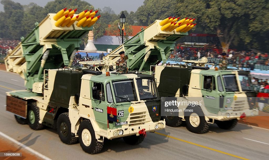 The Indian Army's Pinaka multi Rocket launcher System take part in the full dress rehearsal for the Republic Day parade 2013 at Rajpath on January 23, 2013 in New Delhi, India. India is celebrating its 64th Republic Day this year.