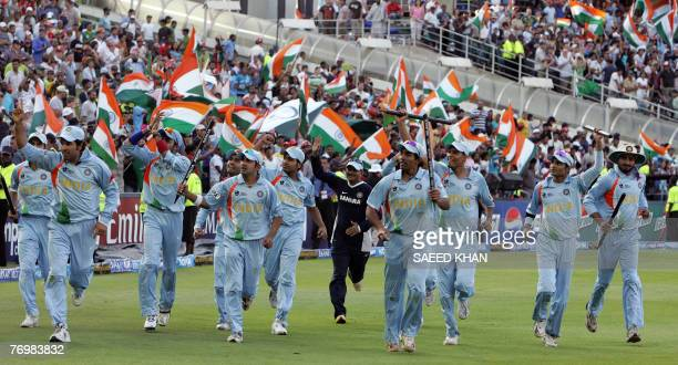 The Indian cricket team celebrate their victory over Pakistan in the final match of the ICC World Twenty20 at the Wanderers Cricket Stadium in...