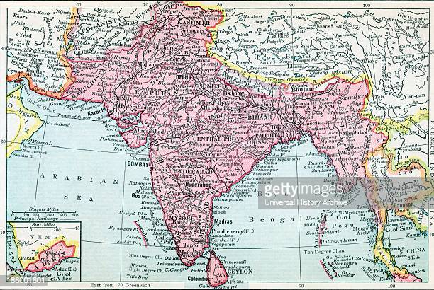 The Indian Empire And Ceylon Circa 1930 Inset Shows Aden From The Modern Atlas Of The World Published Circa 1930