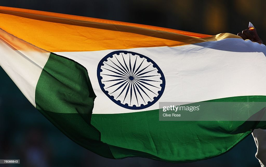 The Indian flag is pictured during day five of the Third Test match between England and India at the Oval on August 13, 2007 in London, England.