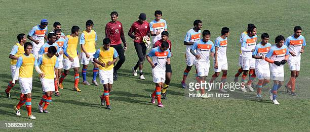 The Indian football team during a practice session at Ambedkar Stadium on January 9 2012 in New Delhi India The Indian national side will play an...