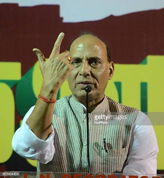 The Indian Ministry of Home Affairs Rajnath Singh deliver his speech during an election campaign in a public meeting ahead of the fourth phase of...