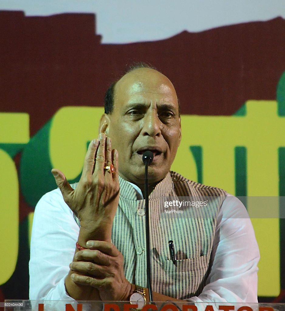 The Indian Ministry of Home Affairs Rajnath Singh deliver his speech during an election campaign in a public meeting ahead of the fourth phase of West Bengal Assembly election in Kolkata, India on Monday, 18th April 2016.