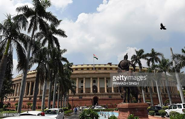 The Indian national flag flutters as the monsoon session of parliament begins in New Delhi on July 21 2015 The threeweek long Monsoon session of...