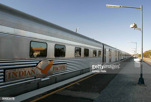 The Indian Pacific is seen at Broken Hill train station on December 3 2009 in Broken Hill Australia The Great Southern Railway's Indian Pacific...