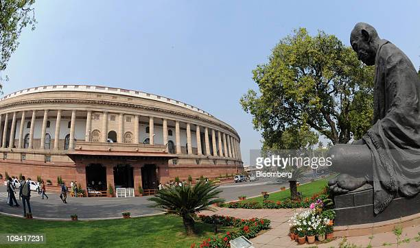 The Indian Parliament building stands in New Delhi India on Friday Feb 25 2011 Indian Railways proposed not to increase passenger fares in the...
