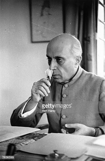 The Indian statesman Jawaharlal Pandit Nehru who on India's independence in 1947 became the first prime minister Original Publication Picture Post...