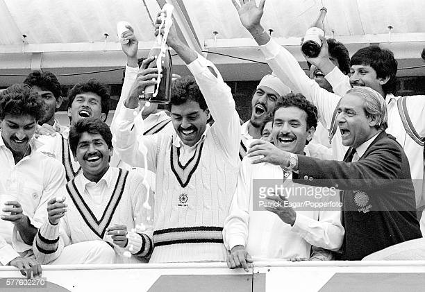 The Indian team celebrate after winning the 2nd Test match between England and India at Headingley Leeds 23rd June 1986 Players include Ravi Shastri...