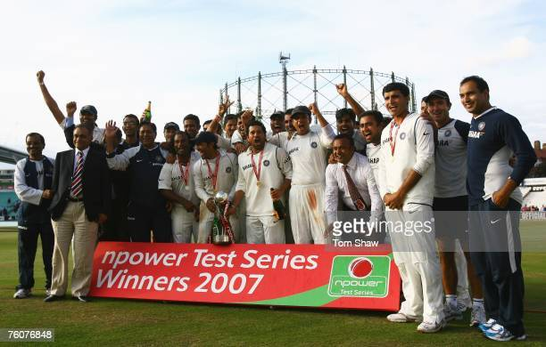 The Indian team celebrate their series win against England during day five of the Third Test match between England and India at the Oval on August 13...