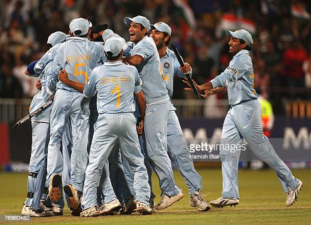 The Indian team celebrate their victory during the ICC Twenty20 Cricket World Championship Semi Final match between India and Australia at Kingsmead...