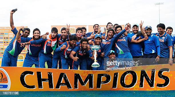 The Indian team celebrate winning the 2012 ICC U19 Cricket World Cup Final between Australia and India at Tony Ireland Stadium on August 26 2012 in...