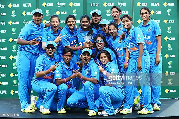 The INdian team celebrtaes after the International Twenty20 match between Australia and India at Sydney Cricket Ground on January 31 2016 in Sydney...
