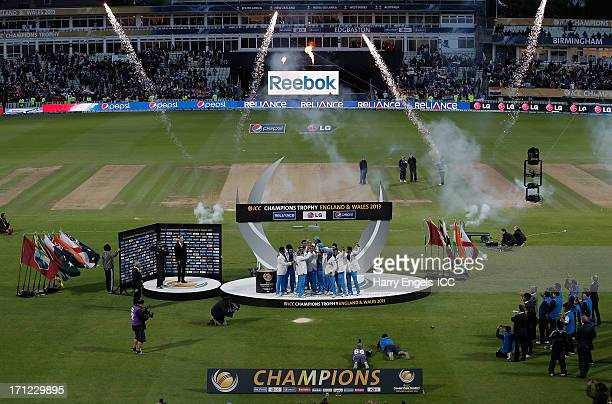 The Indian team lift the trophy after winning the ICC Champions Trophy final between England and India at Edgbaston on June 23 2013 in Birmingham...
