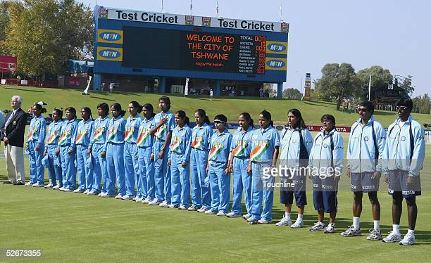 The Indian team line up for the national anthems before the IWCC Women's World Cup Final match between India and Australia at Supersport Park Stadium...