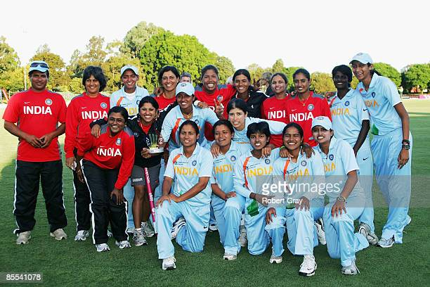 The Indian team pose for a photo after winning the the ICC Women's World Cup 2009 3rd v 4th play off match between Australia and India at Bankstown...
