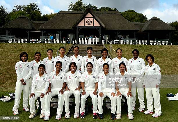 The Indian team pose for a photo prior to day two of Women's test match between England and India at Wormsley Cricket Ground on August 14 2014 in...