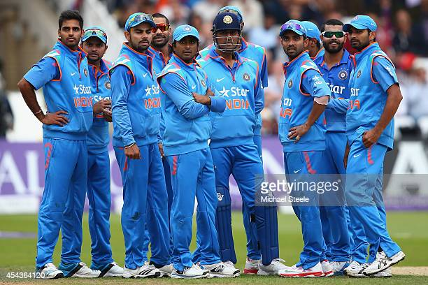 The Indian team wait for a review decision for the wicket of Joe Root during the third Royal London OneDay Series match between England and India at...