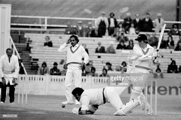 The Indian wicketkeeper Farokh Engineer attempts to catch New Zealand batsman Glenn Turner during his innings of 114 not out in the Prudential World...