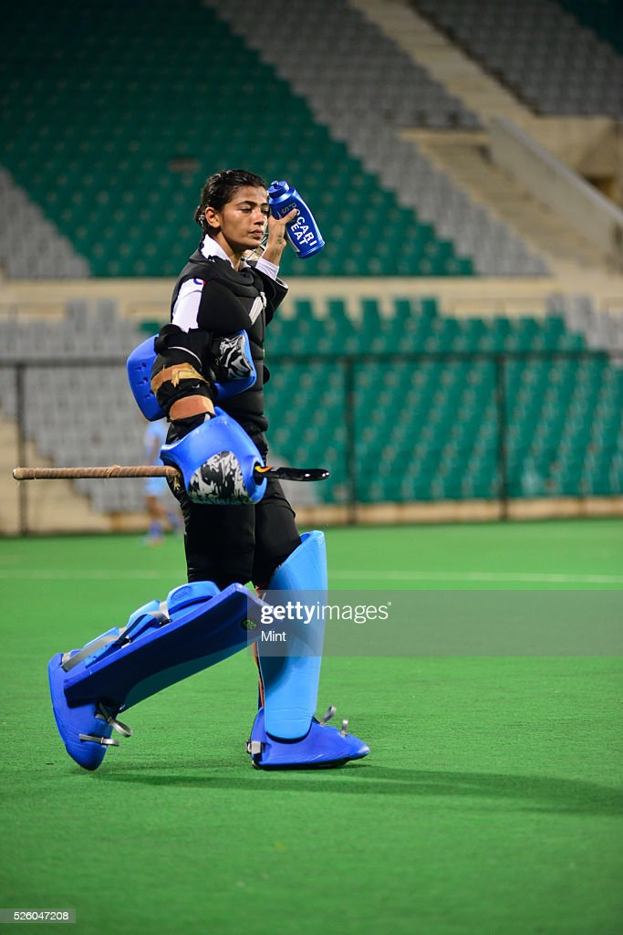 The Indian Women Hockey team practice at Major Dhyan Chand stadium on August 25, 2015 in New Delhi, India.