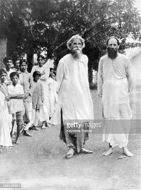The Indian writer Rabindranath Tagore shortly after the founding of the School brahamacharyashram in Santiniketan inaugurated on December 22 1901