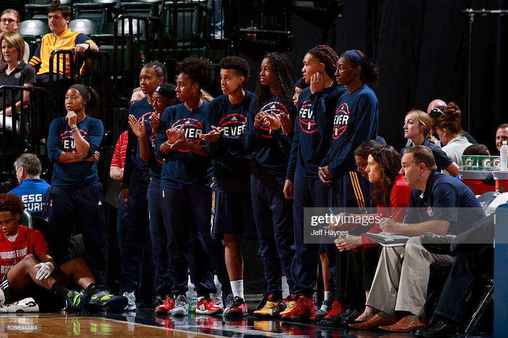 The Indiana Fever bench looks on during a preseason game against the Dallas Wings on May 1, 2016 at Bankers Life Fieldhouse in Indianapolis, Indiana.