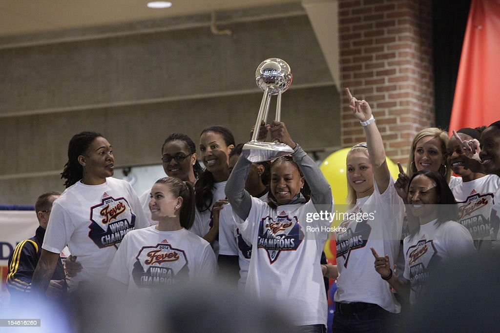The Indiana Fever during the Indiana Fever's WNBA Championship celebration on October 23, 2012 at Bankers Life Fieldhouse in Indianapolis, Indiana.