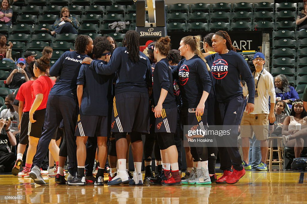 The Indiana Fever huddle during the game against the Dallas Wings during a preseason game on May 1, 2016 at Bankers Life Fieldhouse in Indianapolis, Indiana.