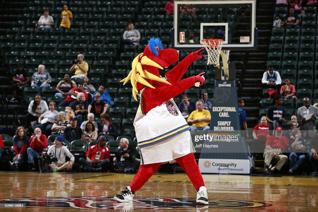 The Indiana Fever mascot performs during a preseason game against the Dallas Wings on May 1, 2016 at Bankers Life Fieldhouse in Indianapolis, Indiana.
