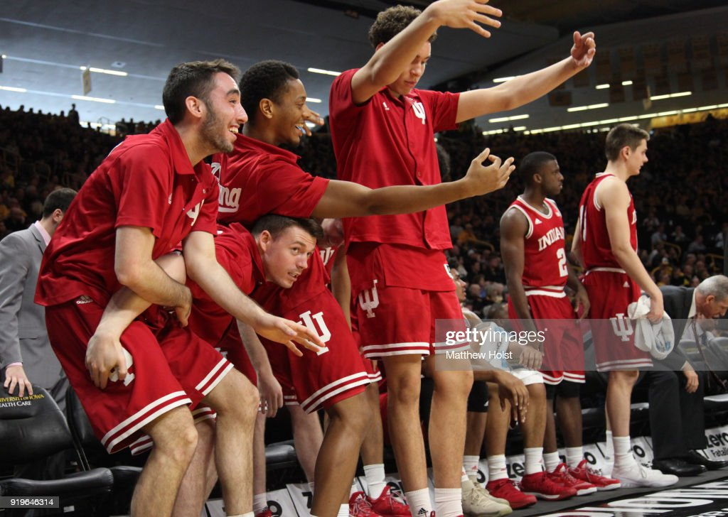 The Indiana Hoosiers bench cheer as the pull ahead during the second half against the Iowa Hawkeyes on February 17, 2018 at Carver-Hawkeye Arena, in Iowa City, Iowa.