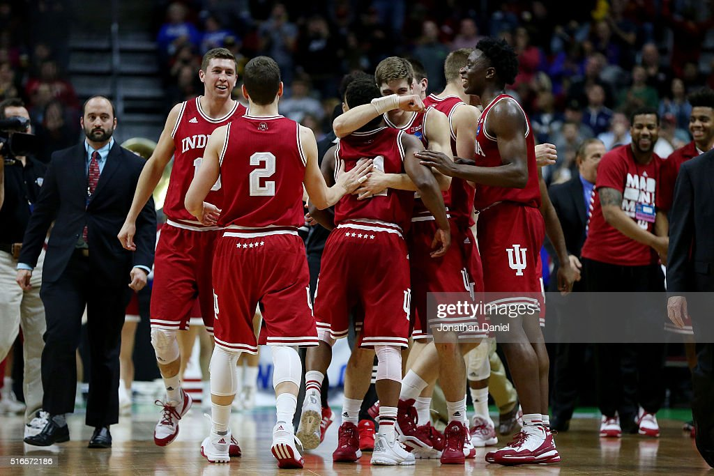 The Indiana Hoosiers celebrate defeating Kentucky Wildcats 73 to 67 during the second round of the 2016 NCAA Men's Basketball Tournament at Wells...