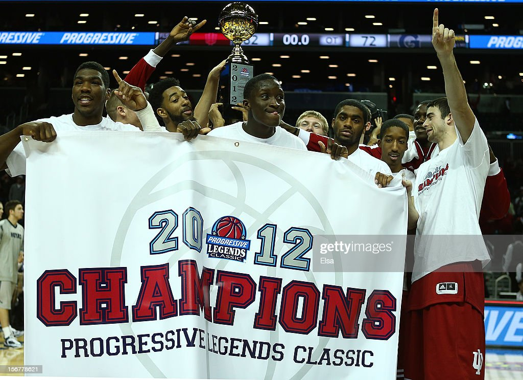 The Indiana Hoosiers celebrate with the trophy after they won the Championship Game of the Legends Classic on November 20,2012 at the Barclays Center in the Brooklyn borough of New York City.The Indiana Hoosiers defeated the Georgetown Hoyas 82-72 in overtime.