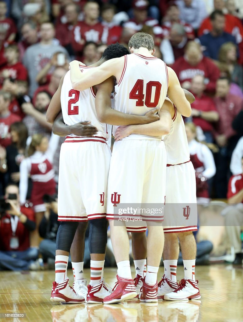 The Indiana Hoosiers huddle before the start of the game against the Nebraska Cornhuskers at Assembly Hall on February 13, 2013 in Bloomington, Indiana.