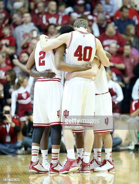 The Indiana Hoosiers huddle before the start of the game against the Nebraska Cornhuskers at Assembly Hall on February 13 2013 in Bloomington Indiana