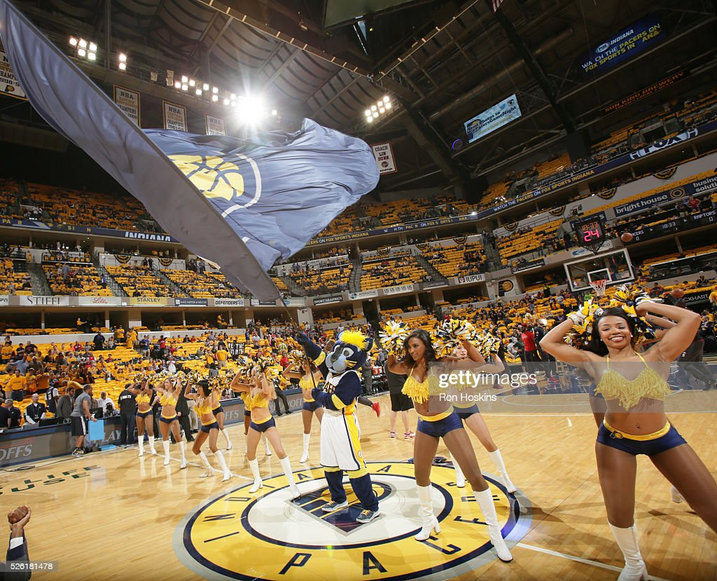 The Indiana Pacers dance team performs before Game Six of the Eastern Conference Quarterfinals against the Toronto Raptors during the 2016 NBA Playoffs on April 29, 2016 at Bankers Life Fieldhouse in Indianapolis, Indiana.