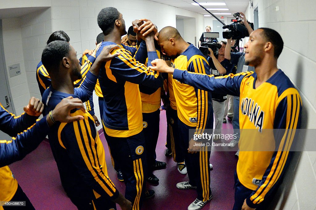 The Indiana Pacers huddle before a game against the Washington Wizards in Game Six of the Eastern Conference Semifinals during the 2014 NBA Playoffs on May 15, 2014 at the Verizon Center in Washington, DC.