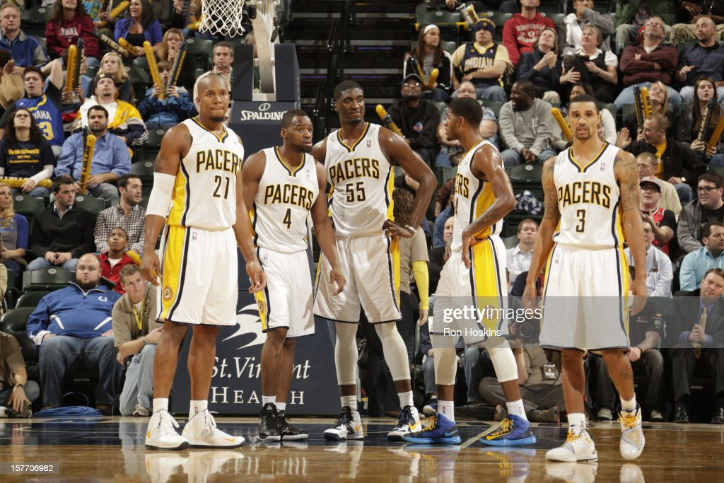 The Indiana Pacers look on before the start of the second half against the Portland Trail Blazers on December 5, 2012 at Bankers Life Fieldhouse in Indianapolis, Indiana.