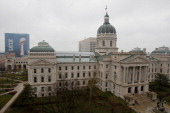 The Indiana Statehouse is seen ahead of Super Bowl XLVI on February 4 2012 in Indianapolis Indiana The New England Patriots will play the New York...