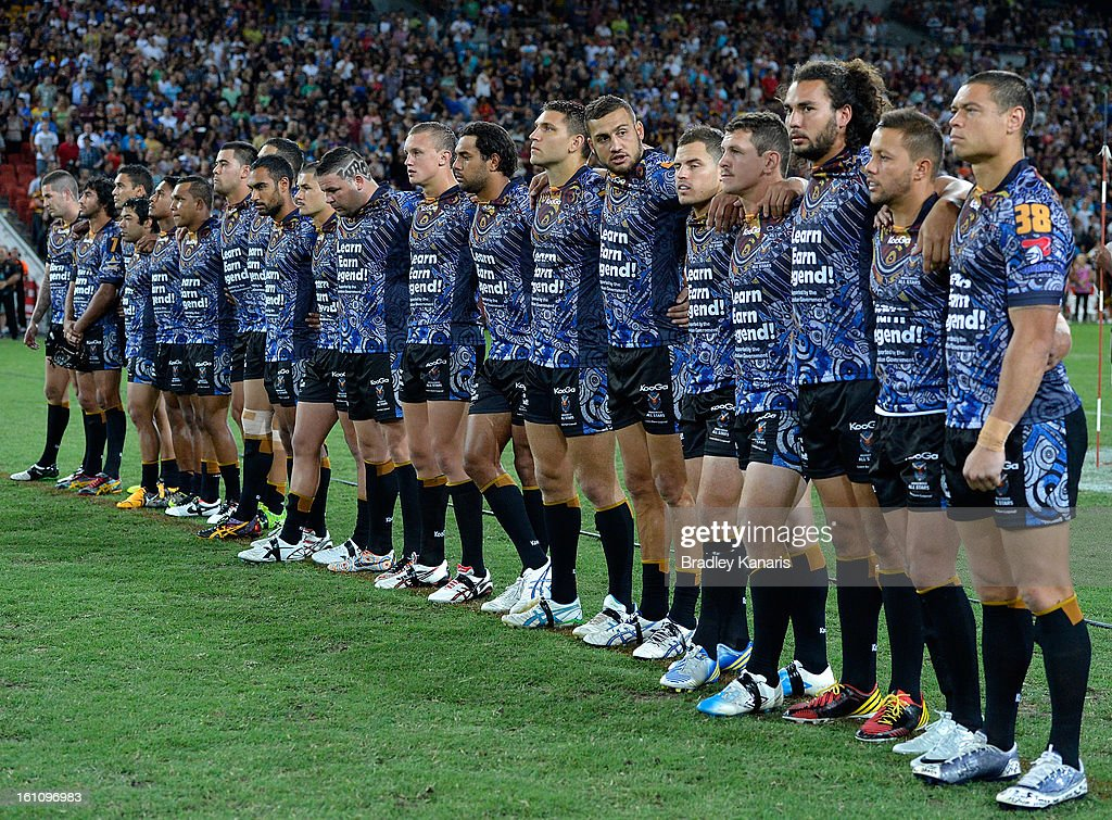 The Indigenous All Stars during the NRL All Stars Game between the Indigenous All Stars and the NRL All Stars at Suncorp Stadium on February 9, 2013 in Brisbane, Australia.