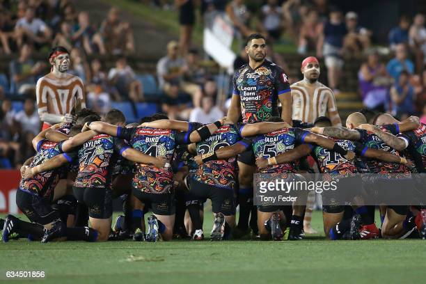 The Indigenous Allstars perform the war cry before the start of the game during the NRL All Stars match between the 2017 Harvey Norman All Stars and...