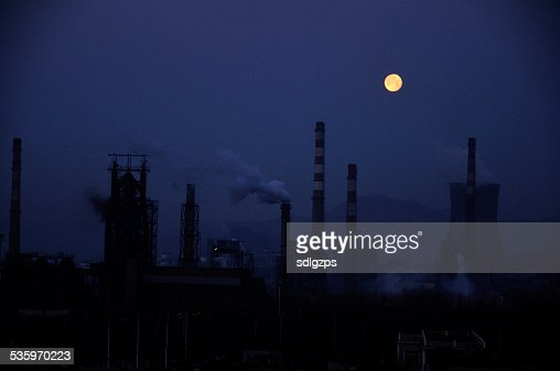 The industrial area of the moon : Stock Photo