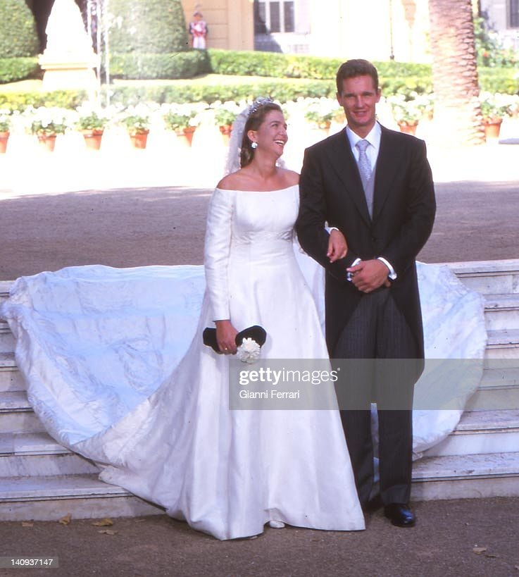 The Infanta Cristina and her groom Inaqui Urdargarin at the Pedralbes Palace before the wedding 4th October 1997 Barcelona Spain