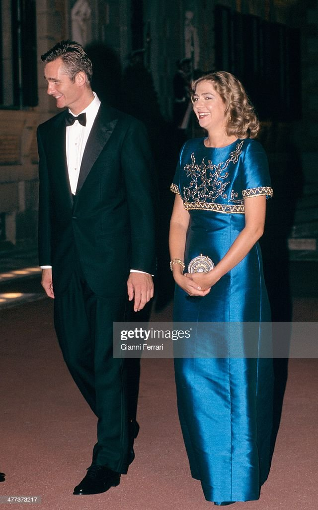 The Infanta Cristina and Inaqui Undargarin at a gala dinner the night before their wedding Third October 1997 Barcelona Catalonia Esoana